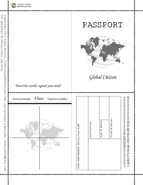 printable passport book global table adventure