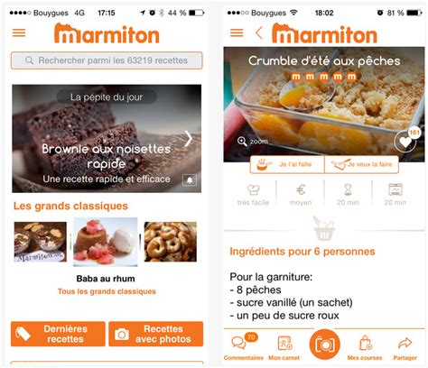 marmiton cuisine dossier applications iphone et l 39 de la cuisine