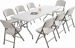NEW GARDEN TRESTLE FOLDING 6FT TABLE & CHAIRS SET BANQUET