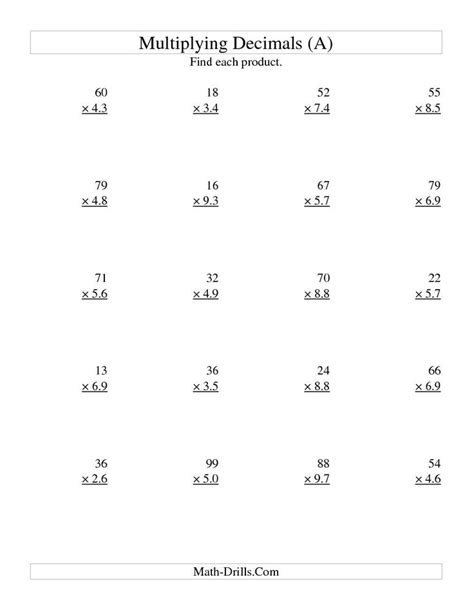 Decimal multiplication worksheets — mental math. Multiplying Two-Digit Whole by Two-Digit Tenths (All ...