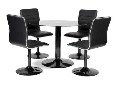 table ronde de cuisine table 4 chaises alister noir