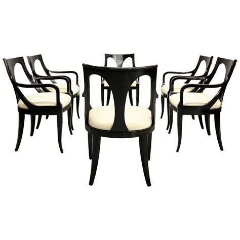 set of six black mid century modern dining chairs by