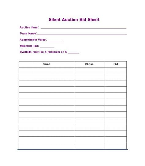 silent auction bid sheet templates word excel