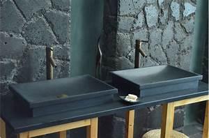 Vasque en pierre evier en pierre noire dune shadow for Vasque salle de bain en pierre