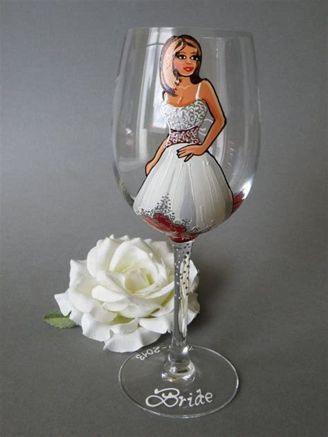 hand painted bridal shower party personalized wine or by