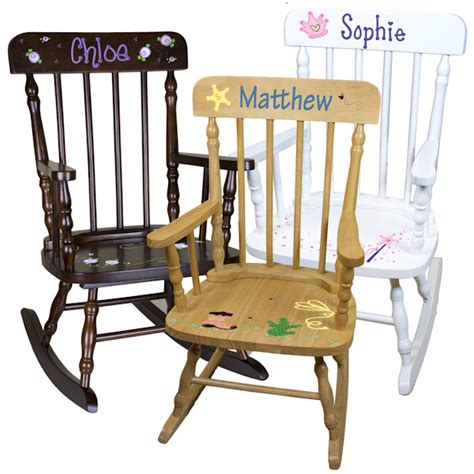 personalized spindle rocking chair 3 wood colors