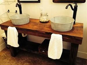 Waschtischplatte Holz Für Aufsatzwaschbecken : doppelwaschtisch rustikal ~ Lizthompson.info Haus und Dekorationen