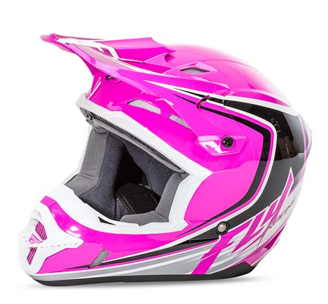 pink motocross helmets kinetic fullspeed pink black white helmet fly racing