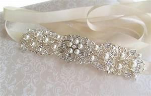 silver wedding sash bridal belt rhinestone wedding dress With pearl belt for wedding dress