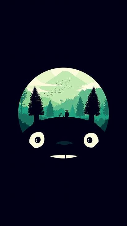 Dark Simple Totoro Iphone Illust