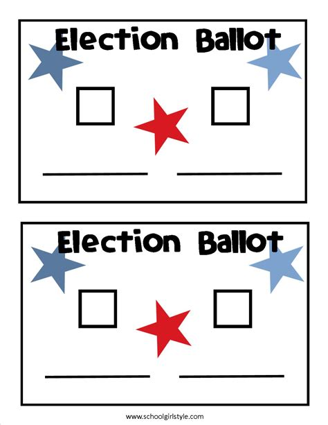 voting ballot template election day in the classroom inspired in style