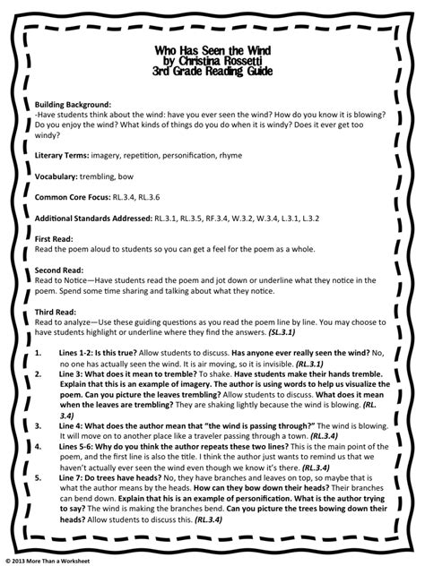 common core poetry  grade teacher guide  pages