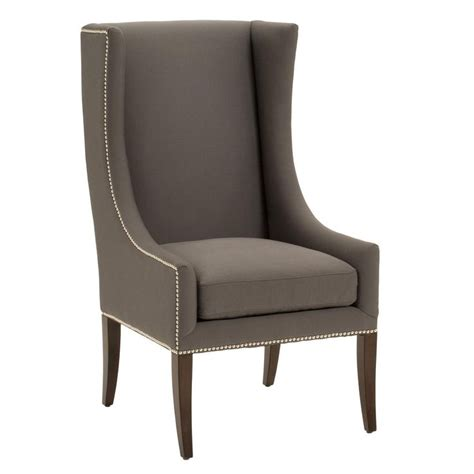 modern wing chair w nailhead trim available in 2 colors