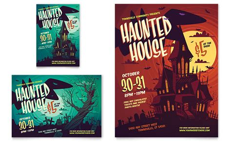 haunted house flyer ad template design