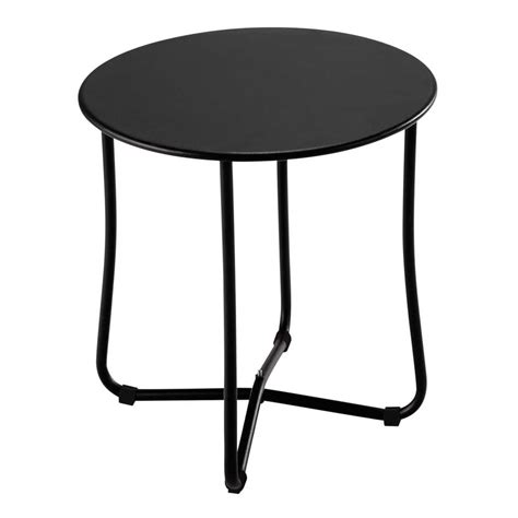 metal garden side table in black d 45cm capsule maisons