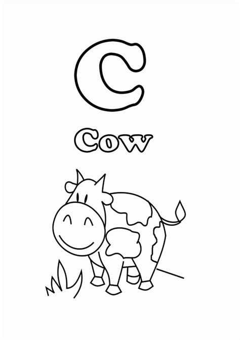 what color starts with c cow start with letter c coloring page free printable