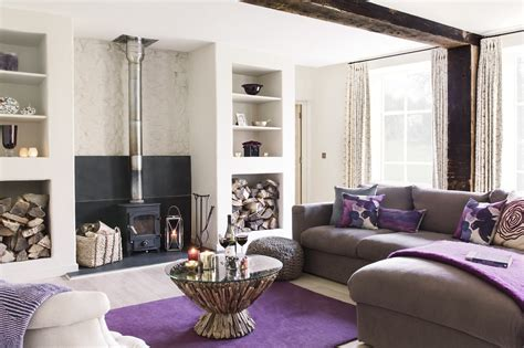 L Shaped Gray Sofa Furniture With Purple Area Rug And Chic