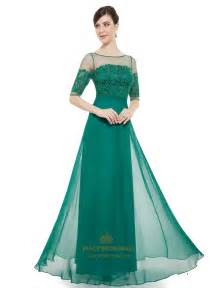 popular bridesmaid dresses emerald green chiffon sheer lace top evening prom dress with half sleeves fancy bridesmaid dresses