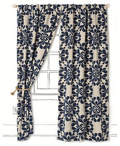coqo floral curtain navy contemporary curtains by