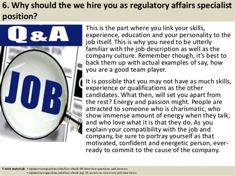 top 10 regulatory affairs specialist interview questions