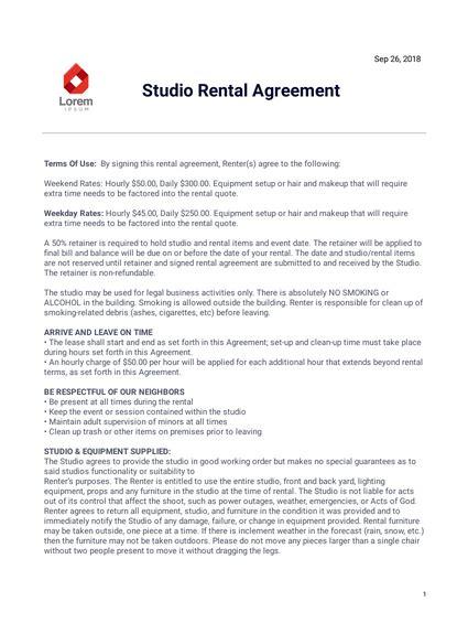 studio rental agreement template  templates jotform