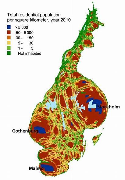 Population Sweden Density Swedish Cartogram Shape Country