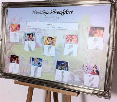 disney themed wedding table plan fun wedding table plans