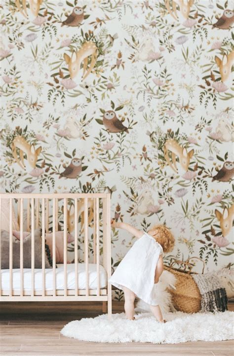 Woodland Animal Wallpaper - woodland animals wallpaper mural anewalldecor on etsy