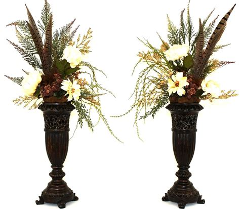 hand  silk flower arrangement fireplace mantel decor