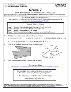 Data Management And Probability  Applications Worksheet