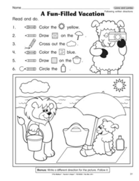 results for following directions worksheet kindergarten