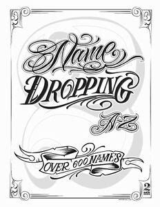 Name Dropping Lettering Flash Book Tattoo Art Supplies Script Twice Ink Letters   eBay