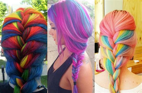 multi hair color striking multi colored braids hairstyles hairdrome
