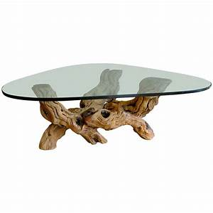 burl wood coffee table with glass top at 1stdibs With redwood burl coffee table