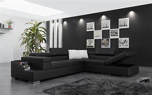 Canapé D Angle Xl : canap d 39 angle cuir genova xl canap d 39 angle noir en ~ Teatrodelosmanantiales.com Idées de Décoration