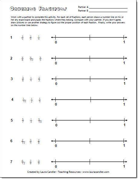 Ordering Fractions On A Number Line Freebie From Laura Candler's Fraction File Cabinet Math