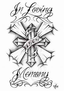In Loving Memory Cross Tattoo Design
