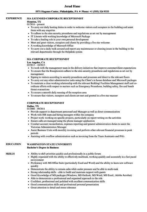 corporate receptionist resume sles velvet