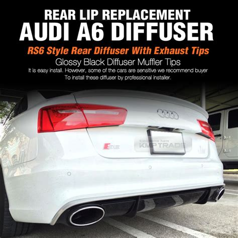 rs6 style rear diffuser spoiler lip lid with exhaust tips for audi 2012 a6 c7 ebay