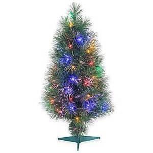 fiber optic 3 foot pre lit christmas tree with multi color lights bed bath beyond