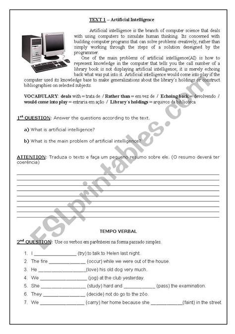 Text - Artificial Intelligence - ESL worksheet by izidrocem