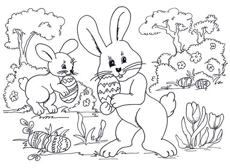 Easter Egg Hunt Coloring Pages Art Valla
