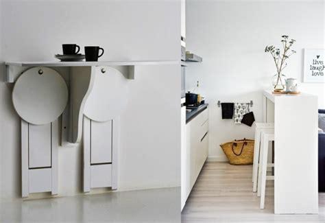 gain de place cuisine table murale pour une cuisine plus sympa