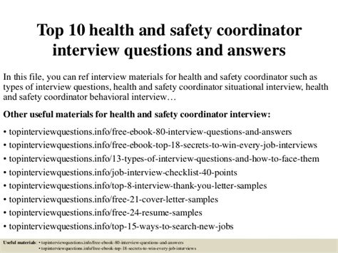 Health Questions And Answers by Top 10 Health And Safety Coordinator Questions