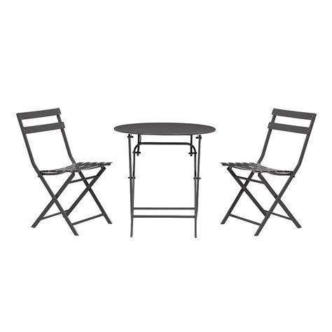 Small Outdoor Table And Chairs by Home Decorators Collection Follie Black 3 Outdoor