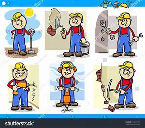 Cartoon Vector Illustration Of Funny Manual Workers Or