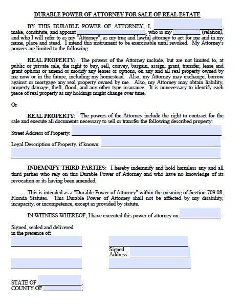 printable sample power  attorney form  printable