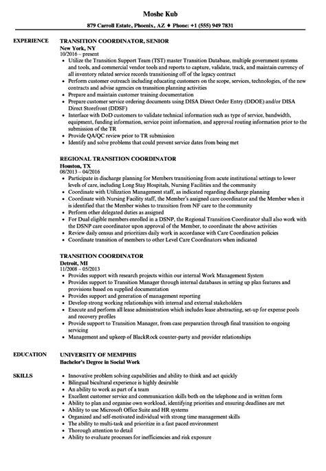 transition coordinator resume samples velvet jobs