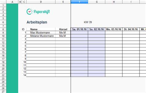 arbeitsplan vorlage excel kostenloser  excel