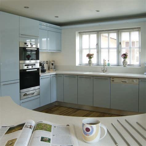 Curved Pale Blue Kitchen  Housetohomecouk